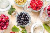 Black red white currants gooseberries cherries jars preparations — Stock Photo