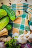 Ingredients preparation pickled cucumbers — Stock Photo