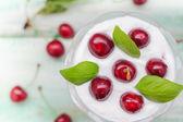 Top view cherry dessert fruit — Stock Photo