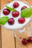 Top view dessert fruit cherries — Stock Photo