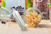 White black red currants gooseberries jars preparations — Stock Photo