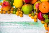 Fruta de fondo del mercado de madera otoño otoño naturaleza del alimento — Foto de Stock