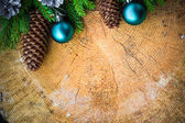 Christmas tree spruce pine wooden Christmas balls — Stockfoto