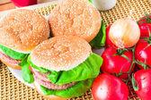 Closeup homemade hamburger fresh vegetables — Stock Photo