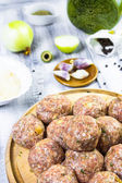Closeup meatballs prepared roll breadcrumbs — Stock Photo