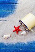 Colorful shells cup sand strewn blue boards — Foto de Stock