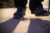 Nordic walking sport run walk outdoor person legs rate stick san — Stock Photo