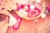 Spa concept zen stones colored lily — Stock Photo