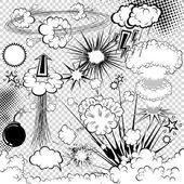 Vettore elementi comici libro di esplosione. simboli del fumetto. — Vettoriale Stock