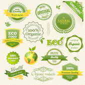 Vector Organic Food, Eco, Bio Labels and Elements — Vecteur