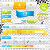 Vector elementi web, pulsanti ed etichette — Vettoriale Stock