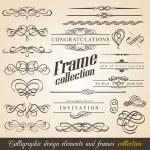 kaligrafické návrhové prvky a rámečky — Stock vektor