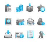 Blue glossy icon set — Stock Vector