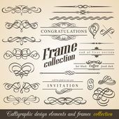 Calligraphic Design Elements and Frames — Wektor stockowy