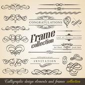 Marcos y elementos de diseño caligráfico — Vector de stock
