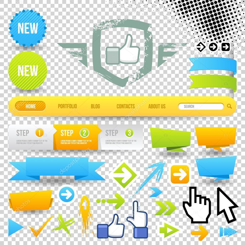 Web Template Icon and Arrows. Design Elements. Site Navigation.  — Imagens vectoriais em stock #13395037