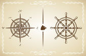 Vector Vintage Compass and Rudder — Stock Vector