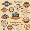 Vector Coffee Stamps and Label Design Backgrounds — Imagen vectorial