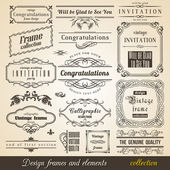 Flourish Border Corner and Frame collection — Vector de stock