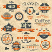 Sellos de café del vector y de la etiqueta de diseño antecedentes — Vector de stock