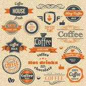Vector timbres café et étiqueter les origines de la conception — Vecteur