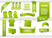 Bundle of Green Web Elements — Stock Vector