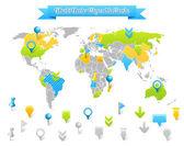 Carte de vecteur du monde avec les marques. — Vecteur