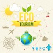 Stock Vector: Vector Icon and Label of Eco Tourism and Travel