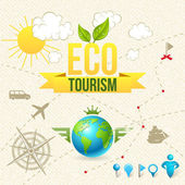 Vector Icon and Label of Eco Tourism and Travel — Stock Vector