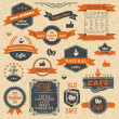 Vintage Coffee Stamps and Label Design Backgrounds — Cтоковый вектор #23730401
