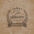 Premium Quality Guarantee Label on Grunge Background — Stock Vector