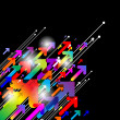 Abstract colored gradient background with arrows on black — 图库矢量图片