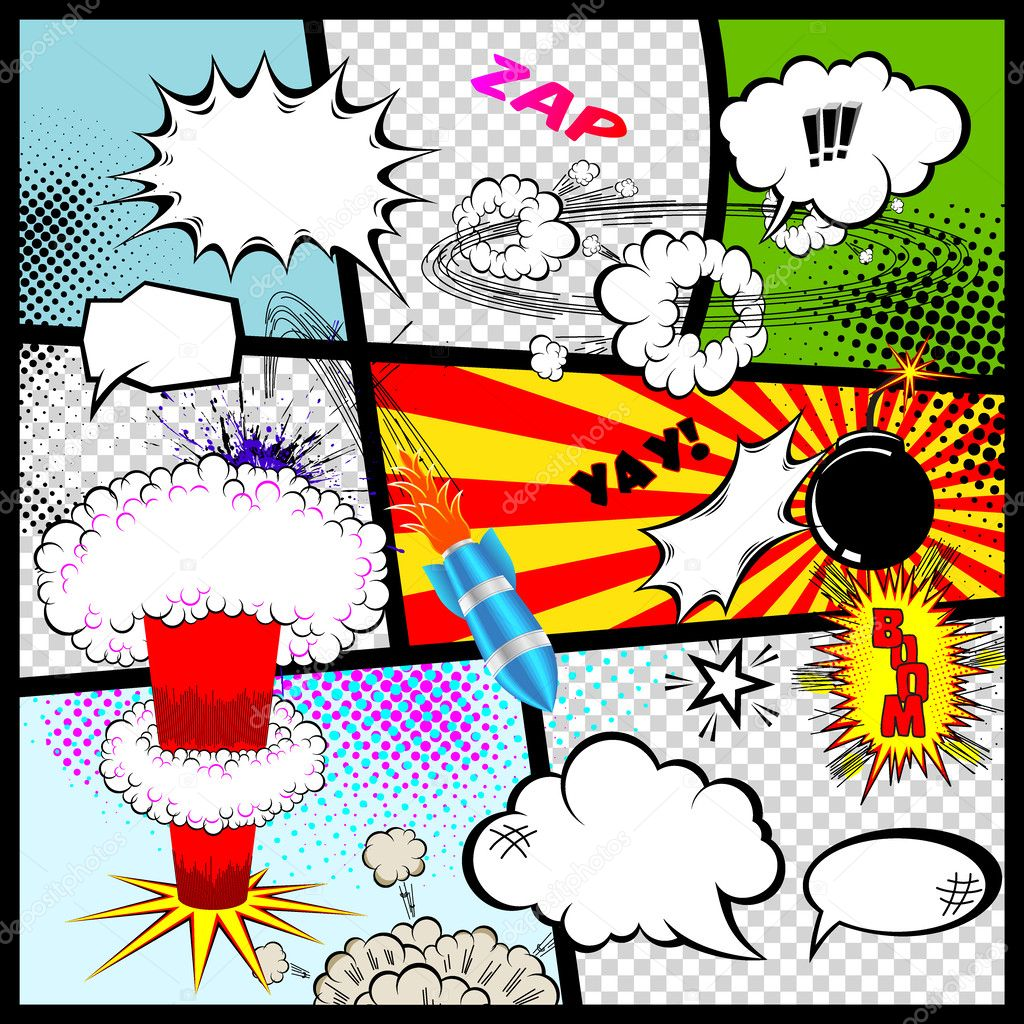 Comic Book Action Bubbles Comic Book Speech Bubbles