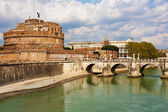 Saint Angel Fortress and Tiber river in Rome, Italy — Stok fotoğraf