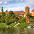Wawel Castle on sunny day in Cracow, Poland. - Stock Photo
