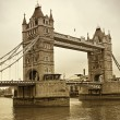 Vintage view of Tower Bridge, London. Sepia toned - Stock Photo