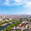 Aerial view of Paris architecture from the Eiffel tower — Stock Photo