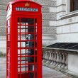 Stock Photo: Classic red British telephone box in London