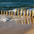 Wooden breakwater — Foto Stock