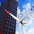 Royalty-Free Stock Photo: Solar panels and wind turbine