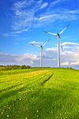 Mountain wind turbine — Stock Photo