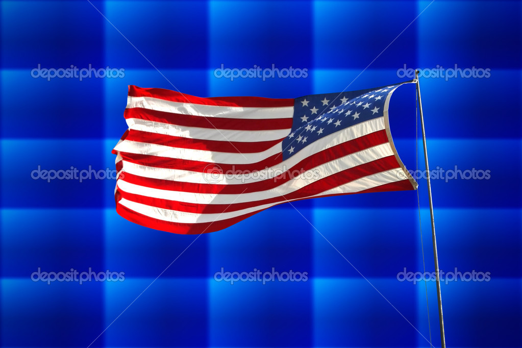 Flag of the United States of America over abstract background — Stock Photo #14156594