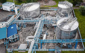 Gas and oil industrial from aerial view — Stock Photo