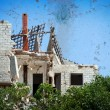 Stock Photo: Ruined house after disaster