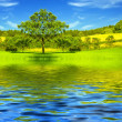 Stock Photo: Beautiful lake and green meadow by springtime