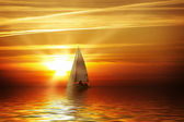 Sailing at sunset — Stock Photo