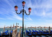 Gondolas moored by Saint Mark square — Stock Photo