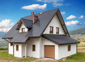 A new house with a garage in a rural area — Stock Photo
