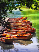 Boats in the national park Plitvice — Stock Photo