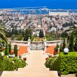 Beautiful Haifa view of Mediterranean Sea and Bahai Gardens — Stock Photo